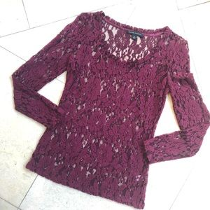 Soft maroon banana republic lace long sleeve